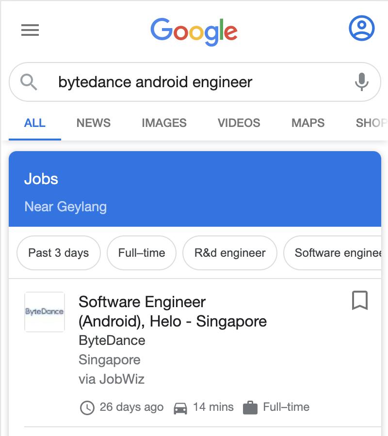 Google job search engine